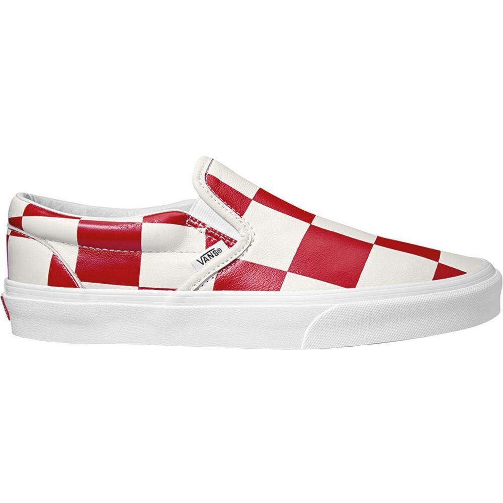 ヴァンズ Vans メンズ スリッポン・フラット シューズ・靴【Leather Check Classic Slip-On Shoes】True Wht/Racing Red