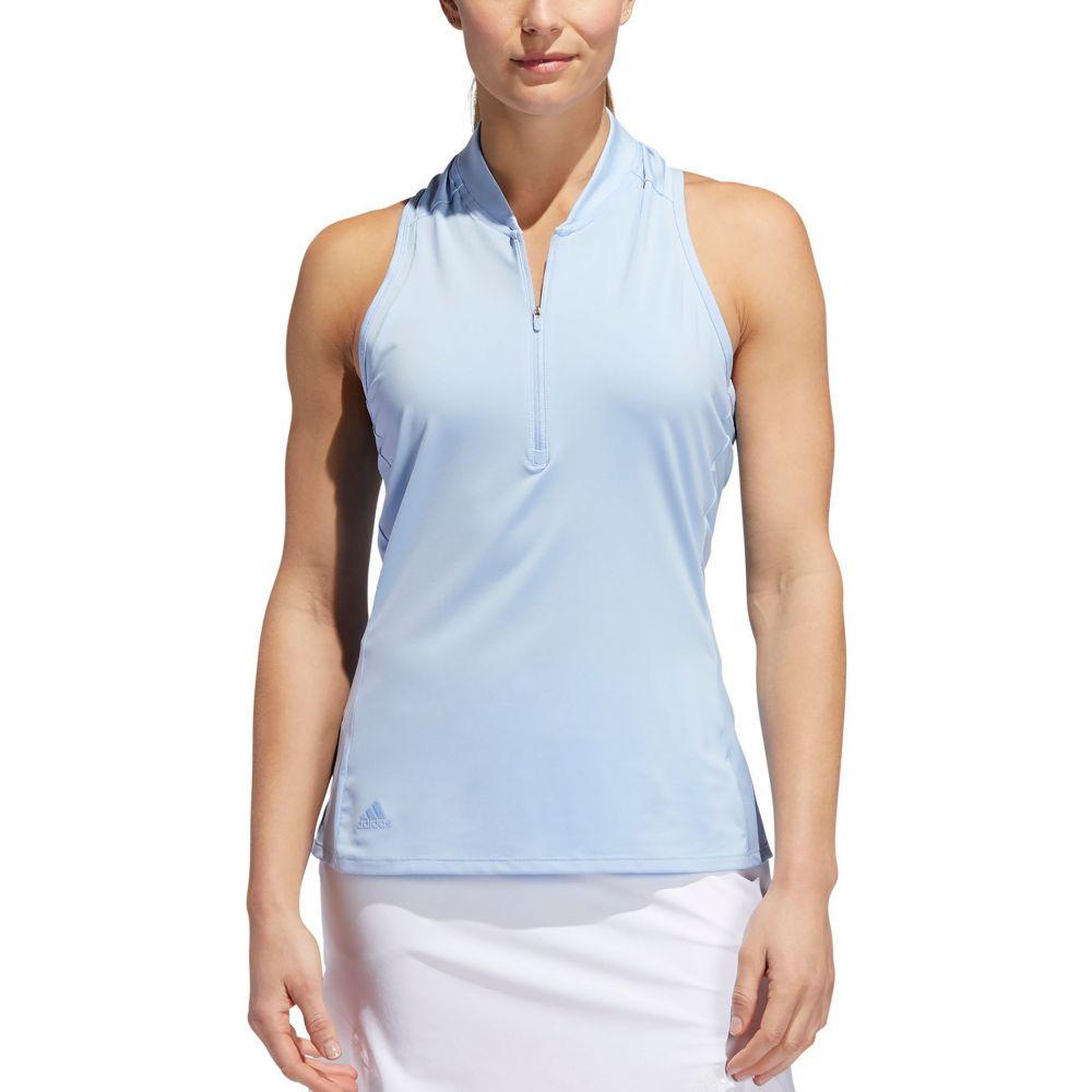 アディダス adidas レディース ゴルフ ノースリーブ ポロシャツ トップス【Sport Mesh Sleeveless Golf Polo】Glow Blue