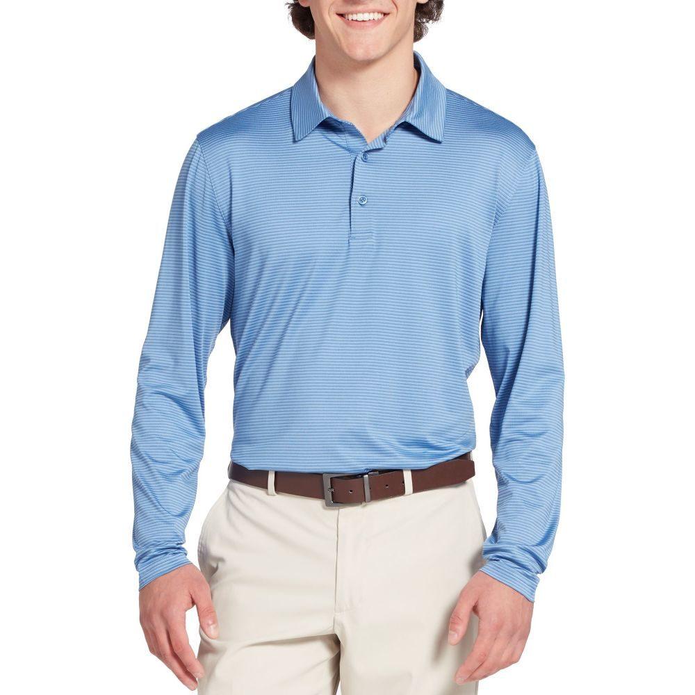 ウォルターヘーゲン Walter Hagen メンズ ゴルフ ポロシャツ トップス【Long Sleeve Stripe Golf Polo】Dusty 青