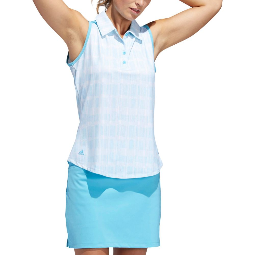 アディダス adidas レディース ゴルフ ノースリーブ ポロシャツ トップス【Ultimate365 UPF Sleeveless Golf Polo】White/Bright Cyan