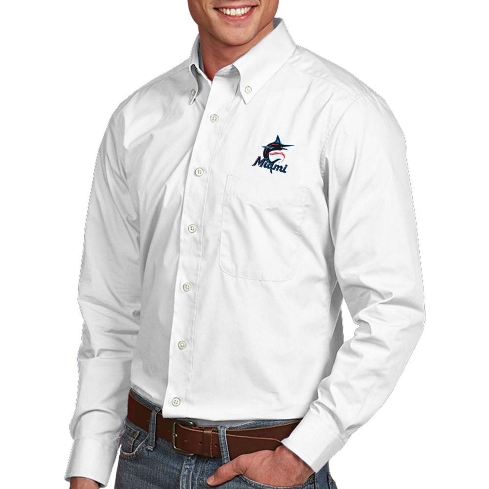 アンティグア Antigua メンズ シャツ トップス【Miami Marlins Dynasty Button-Up White Long Sleeve Shirt】