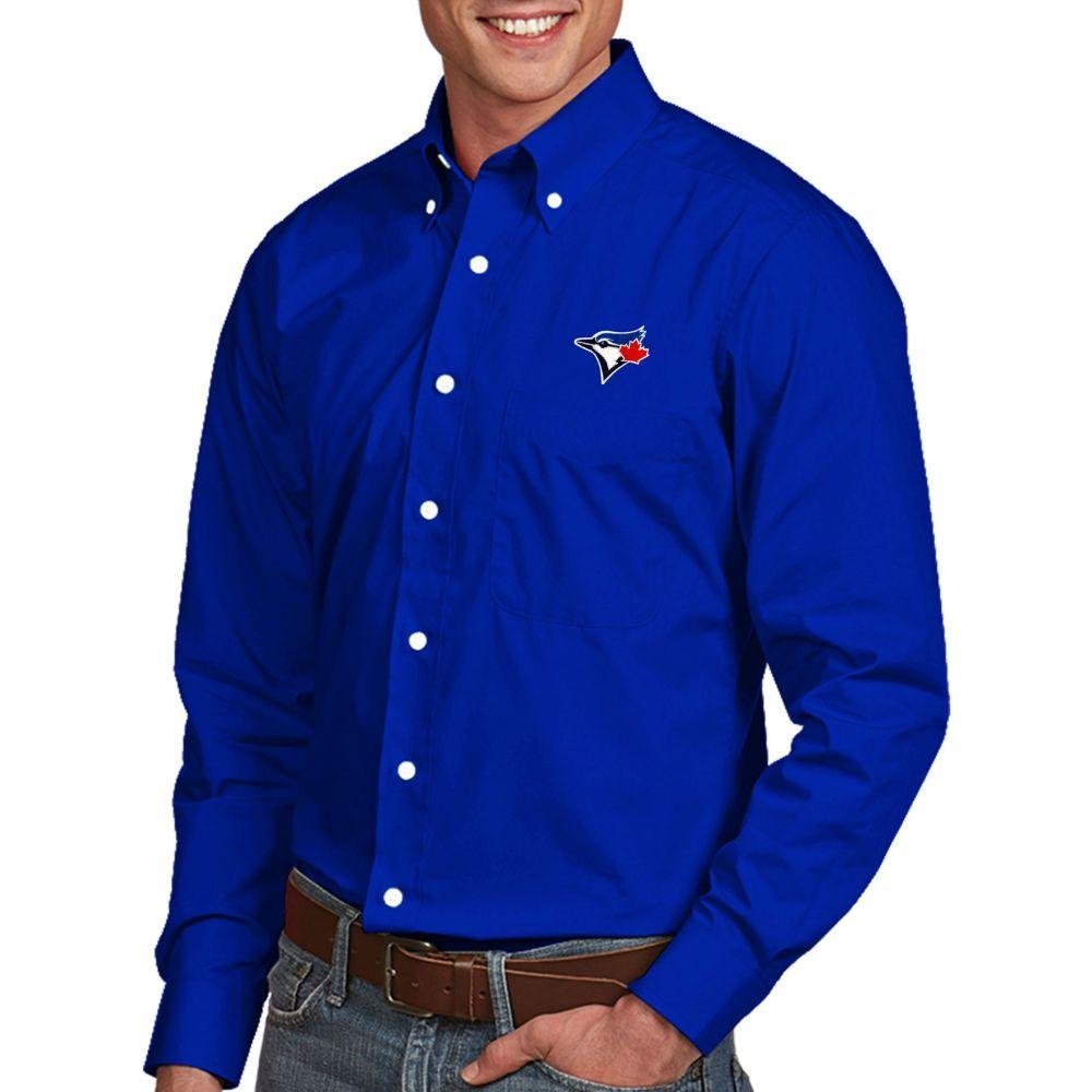 アンティグア Antigua メンズ シャツ トップス【Toronto Blue Jays Dynasty Button-Up Royal Long Sleeve Shirt】