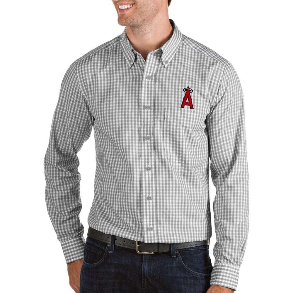 アンティグア Antigua メンズ シャツ トップス【Los Angeles Angels Structure Button-Up Grey Long Sleeve Shirt】