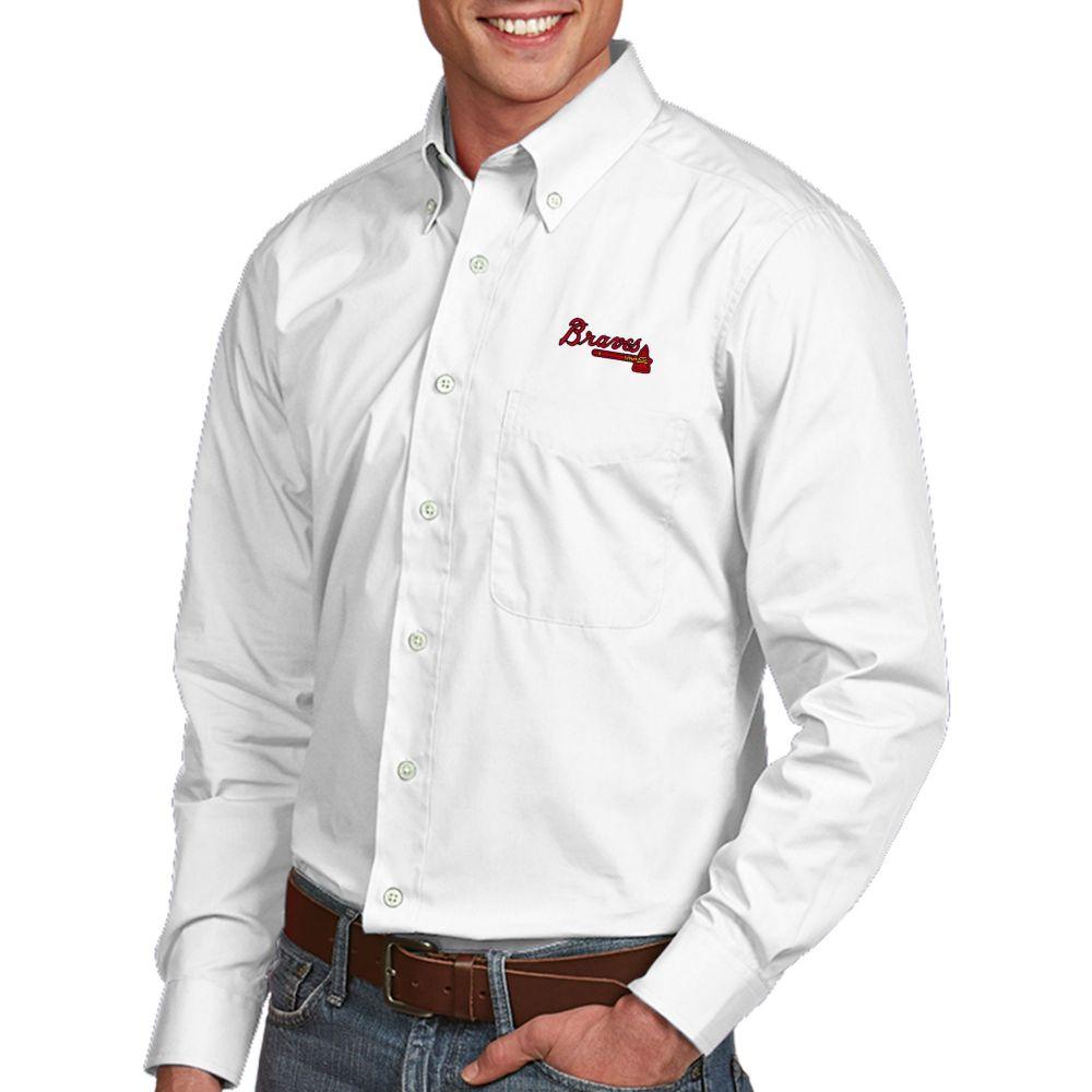 アンティグア Antigua メンズ シャツ トップス【Atlanta Braves Dynasty Button-Up White Long Sleeve Shirt】