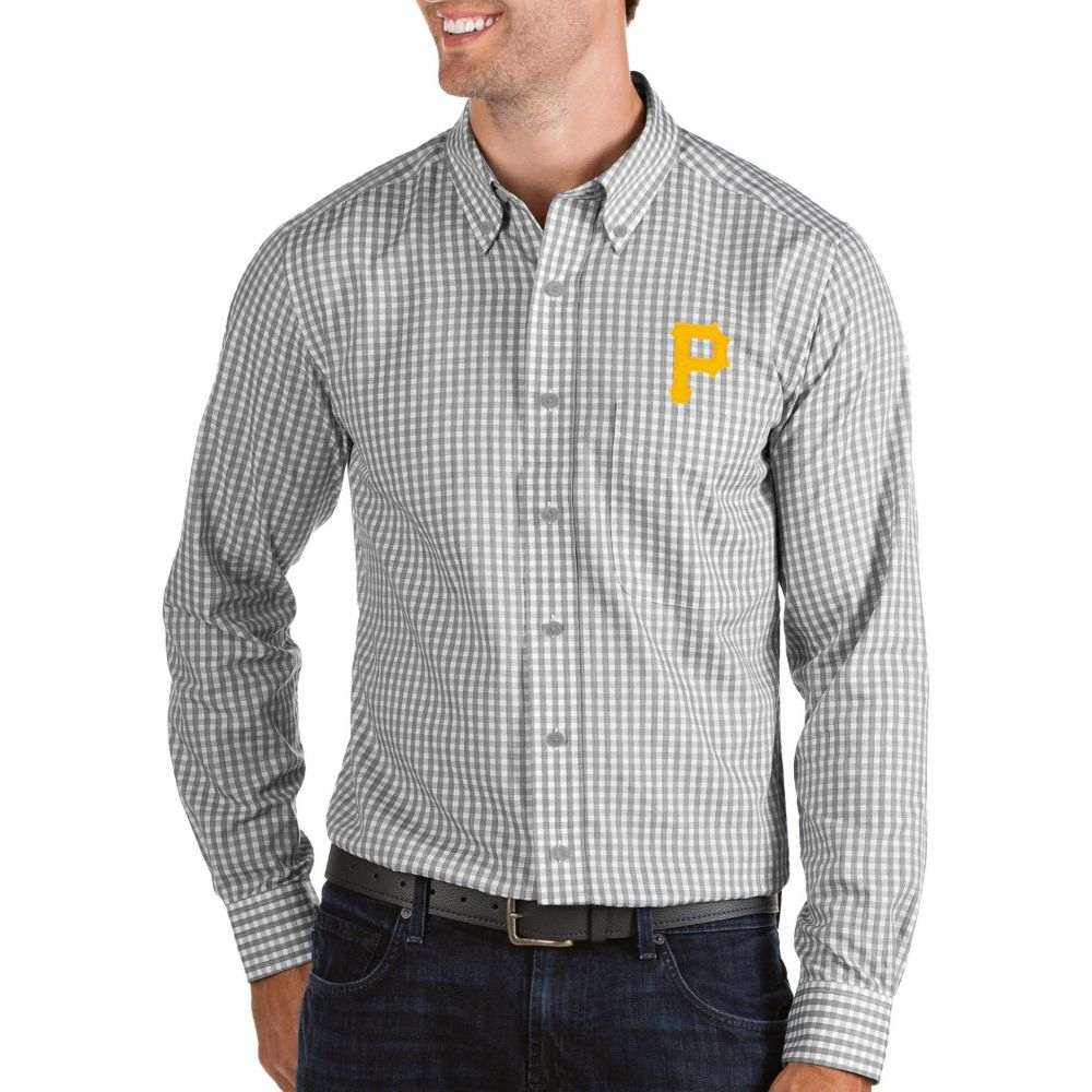 アンティグア Antigua メンズ シャツ トップス【Pittsburgh Pirates Structure Button-Up Grey Long Sleeve Shirt】