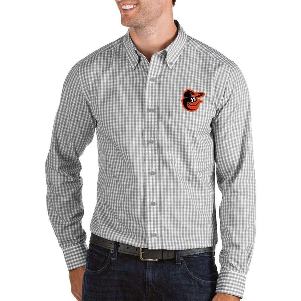 アンティグア Antigua メンズ シャツ トップス【Baltimore Orioles Structure Button-Up Grey Long Sleeve Shirt】