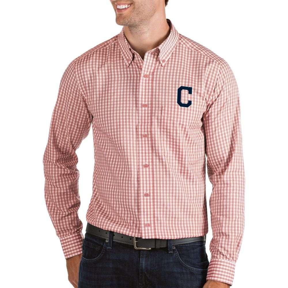 アンティグア Antigua メンズ シャツ トップス【Cleveland Indians Structure Button-Up Red Long Sleeve Shirt】