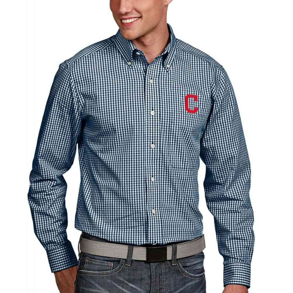 アンティグア Antigua メンズ シャツ トップス【Cleveland Indians Associate Button-Up Navy Long Sleeve Shirt】