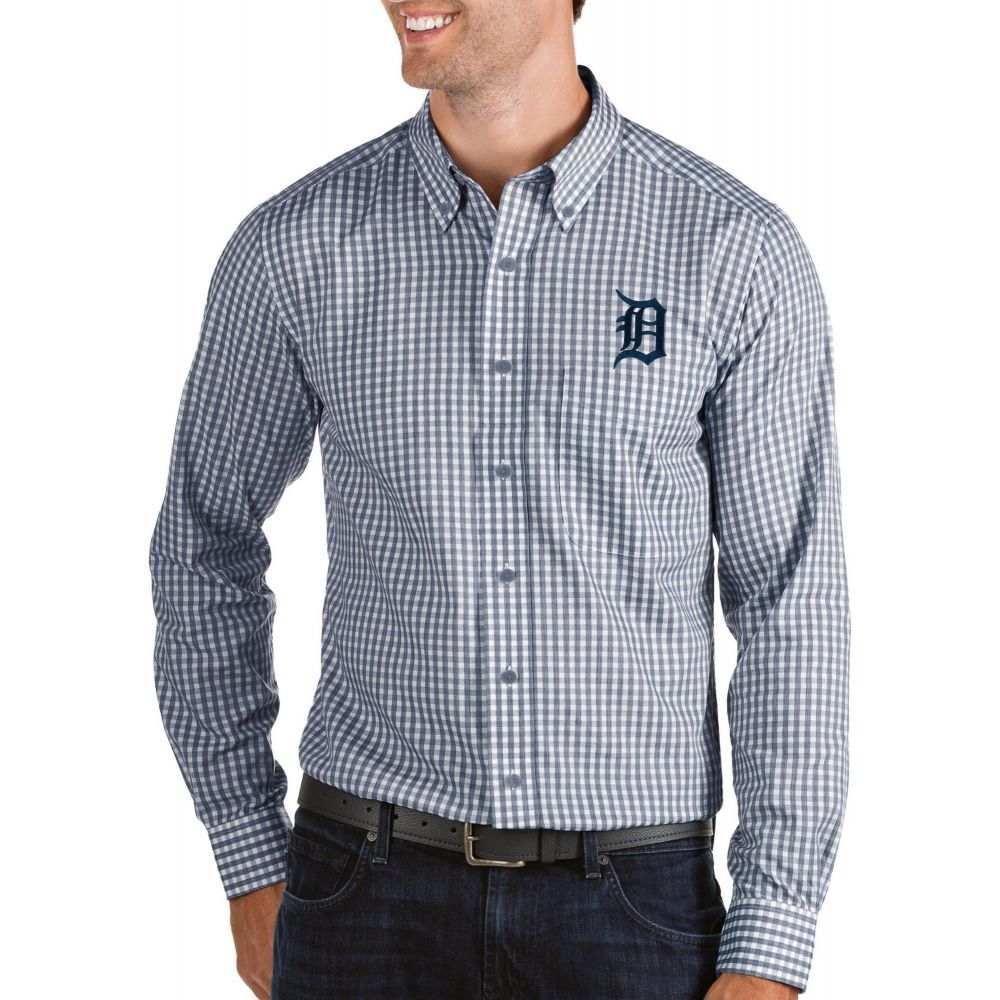 アンティグア Antigua メンズ シャツ トップス【Detroit Tigers Structure Button-Up Navy Long Sleeve Shirt】