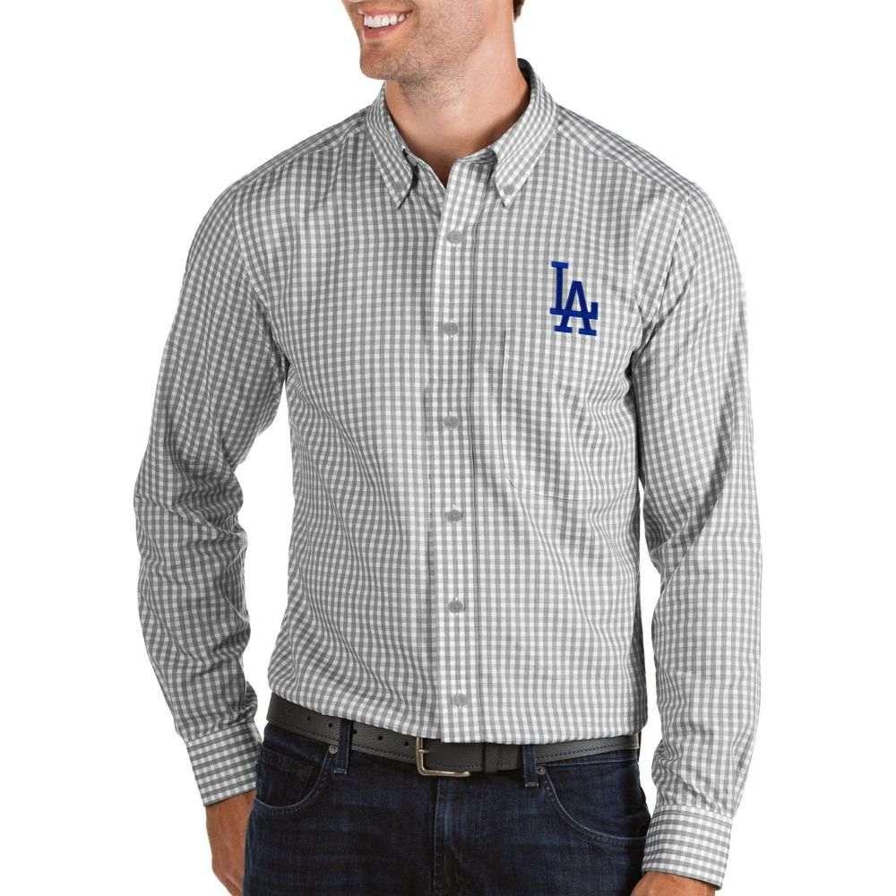 アンティグア Antigua メンズ シャツ トップス【Los Angeles Dodgers Structure Button-Up Grey Long Sleeve Shirt】
