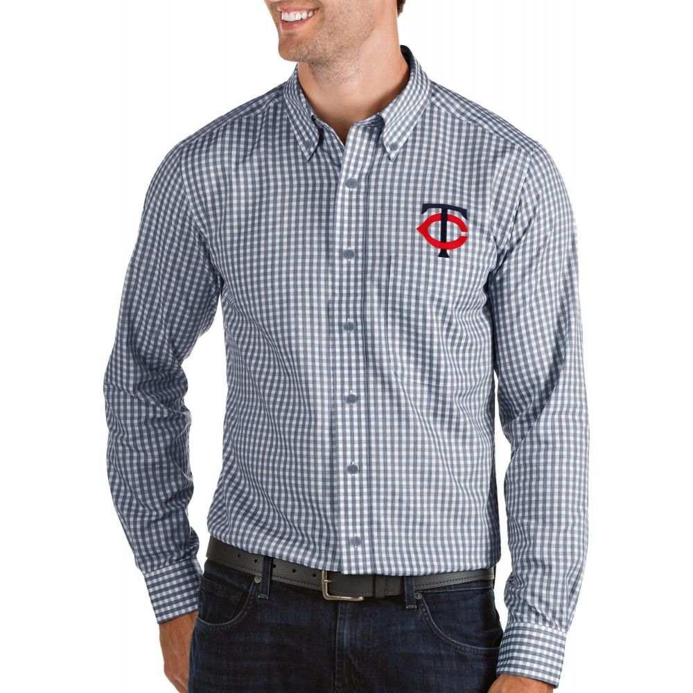 アンティグア Antigua メンズ シャツ トップス【Minnesota Twins Structure Button-Up Navy Long Sleeve Shirt】
