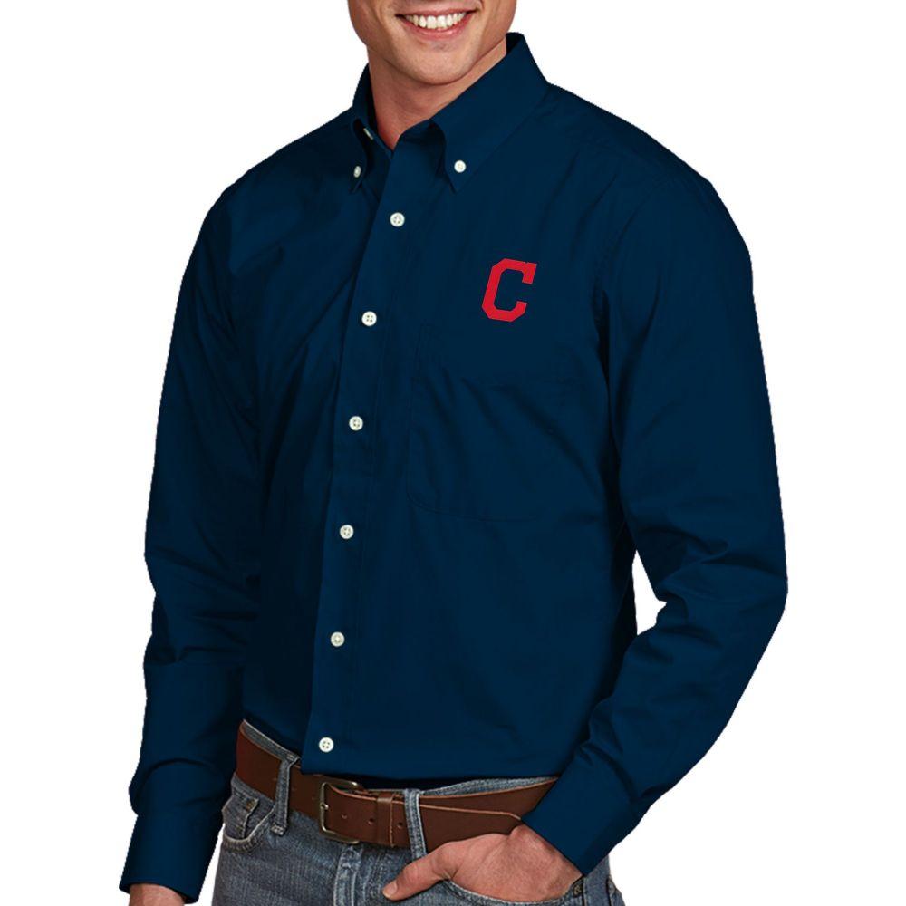 アンティグア Antigua メンズ シャツ トップス【Cleveland Indians Dynasty Button-Up Navy Long Sleeve Shirt】