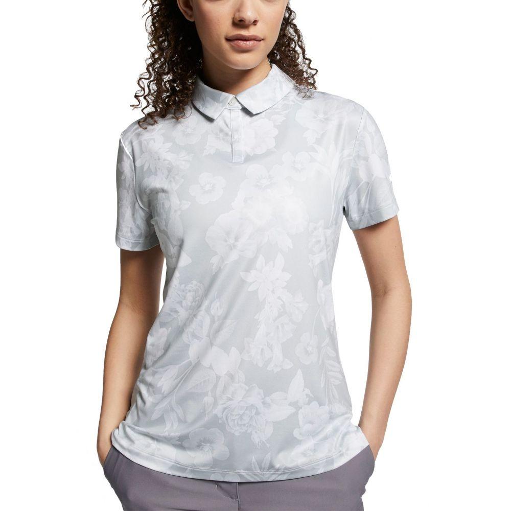 ナイキ Nike レディース ゴルフ ドライフィット 半袖 トップス【Dri-FIT Floral Printed Short Sleeve Golf Polo】Pure Platinum