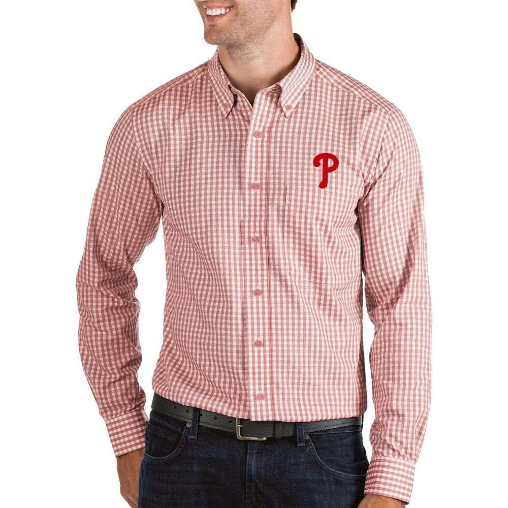 アンティグア Antigua メンズ シャツ トップス【Philadelphia Phillies Structure Button-Up Red Long Sleeve Shirt】