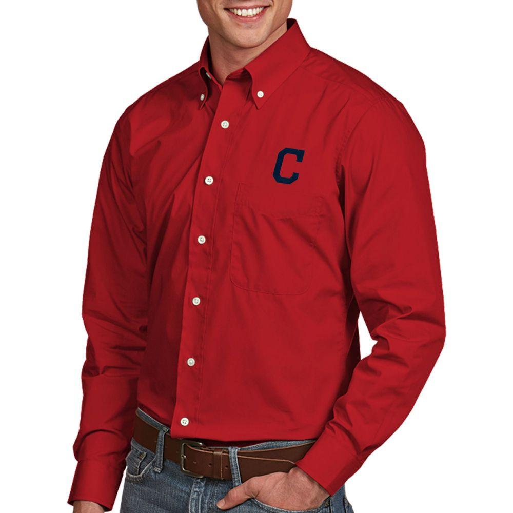 アンティグア Antigua メンズ シャツ トップス【Cleveland Indians Dynasty Button-Up Red Long Sleeve Shirt】