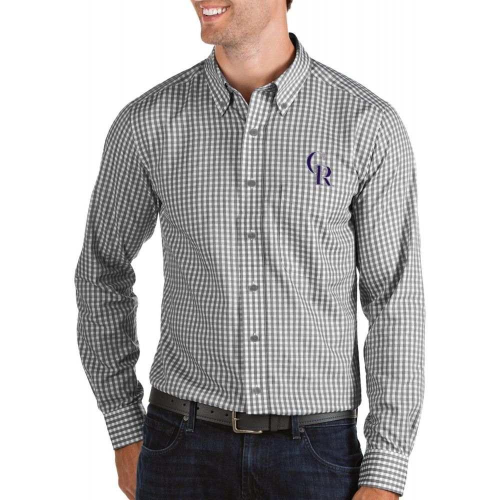 アンティグア Antigua メンズ シャツ トップス【Colorado Rockies Structure Button-Up Black Long Sleeve Shirt】
