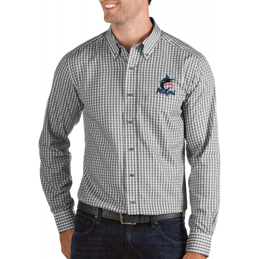 アンティグア Antigua メンズ シャツ トップス【Miami Marlins Structure Button-Up Black Long Sleeve Shirt】