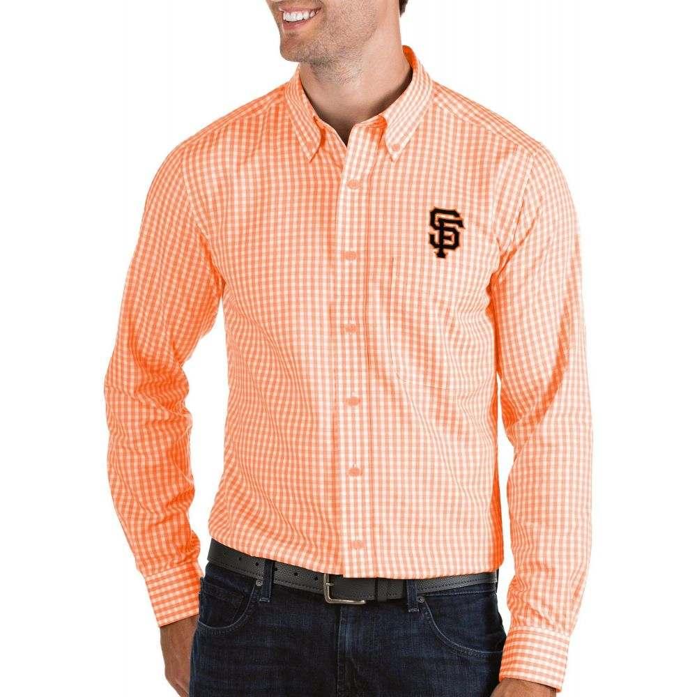 アンティグア Antigua メンズ シャツ トップス【San Francisco Giants Structure Button-Up Orange Long Sleeve Shirt】
