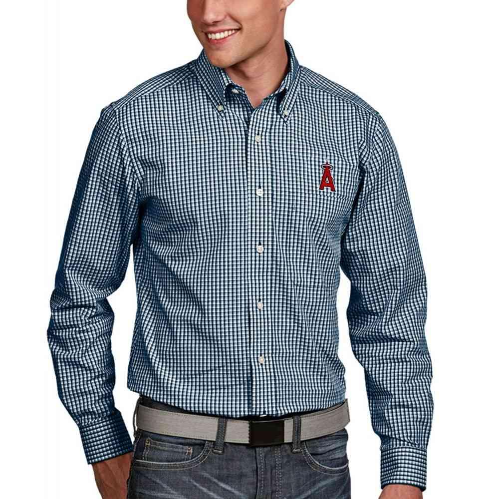 アンティグア Antigua メンズ シャツ トップス【Los Angeles Angels Associate Button-Up Navy Long Sleeve Shirt】