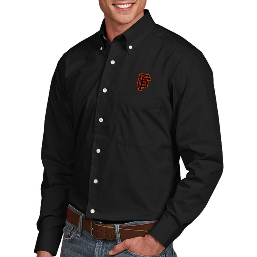 アンティグア Antigua メンズ シャツ トップス【San Francisco Giants Dynasty Button-Up Black Long Sleeve Shirt】