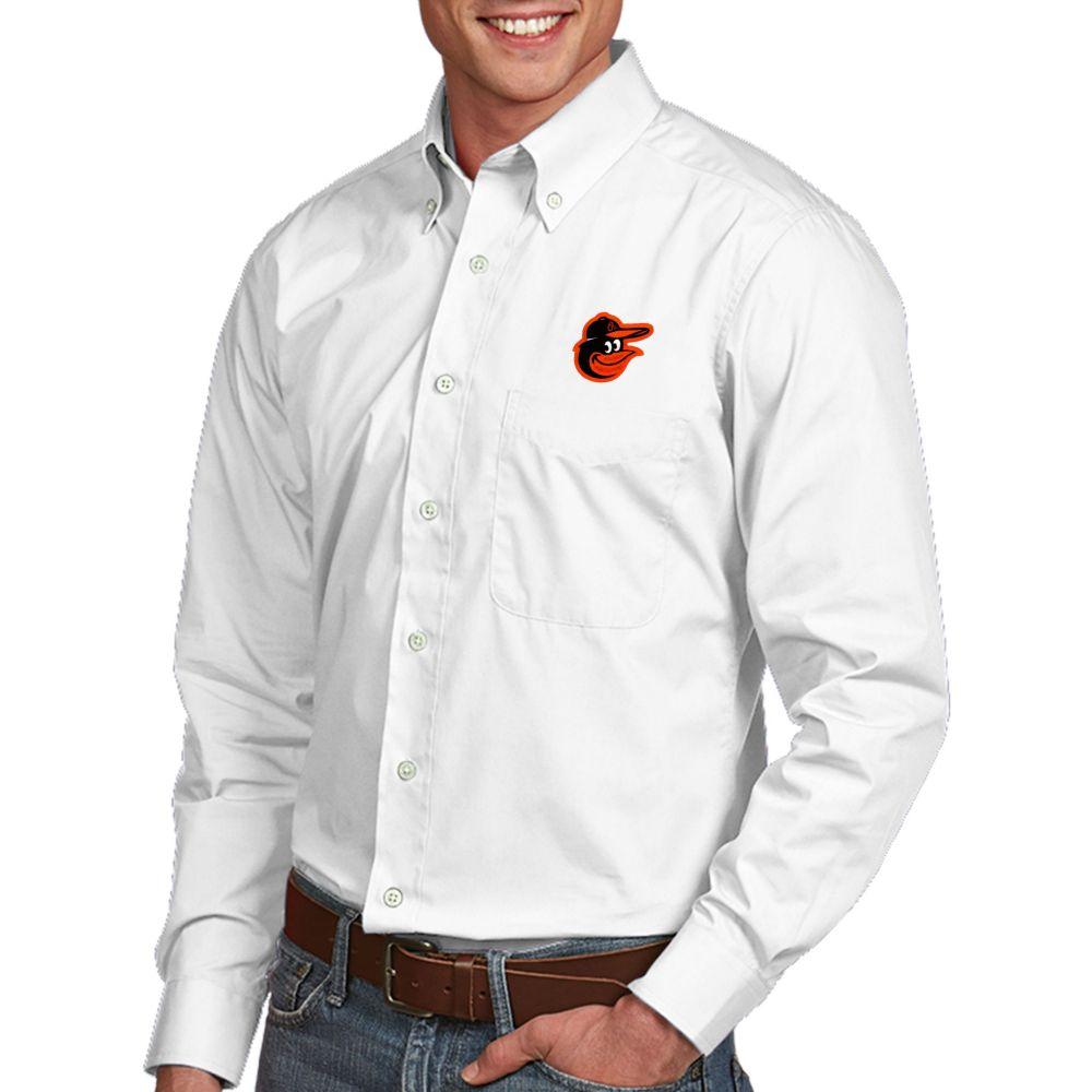 アンティグア Antigua メンズ シャツ トップス【Baltimore Orioles Dynasty Button-Up White Long Sleeve Shirt】