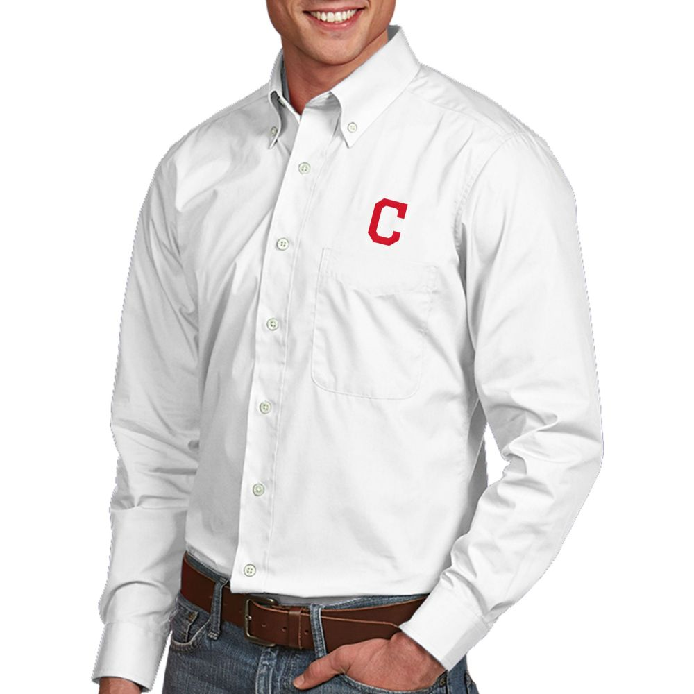アンティグア Antigua メンズ シャツ トップス【Cleveland Indians Dynasty Button-Up White Long Sleeve Shirt】