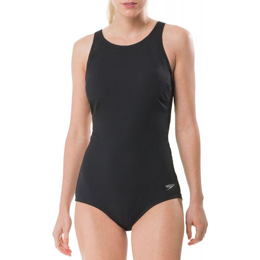 スピード Speedo レディース ワンピース 水着・ビーチウェア【Zip High Neck Swimsuit】Black