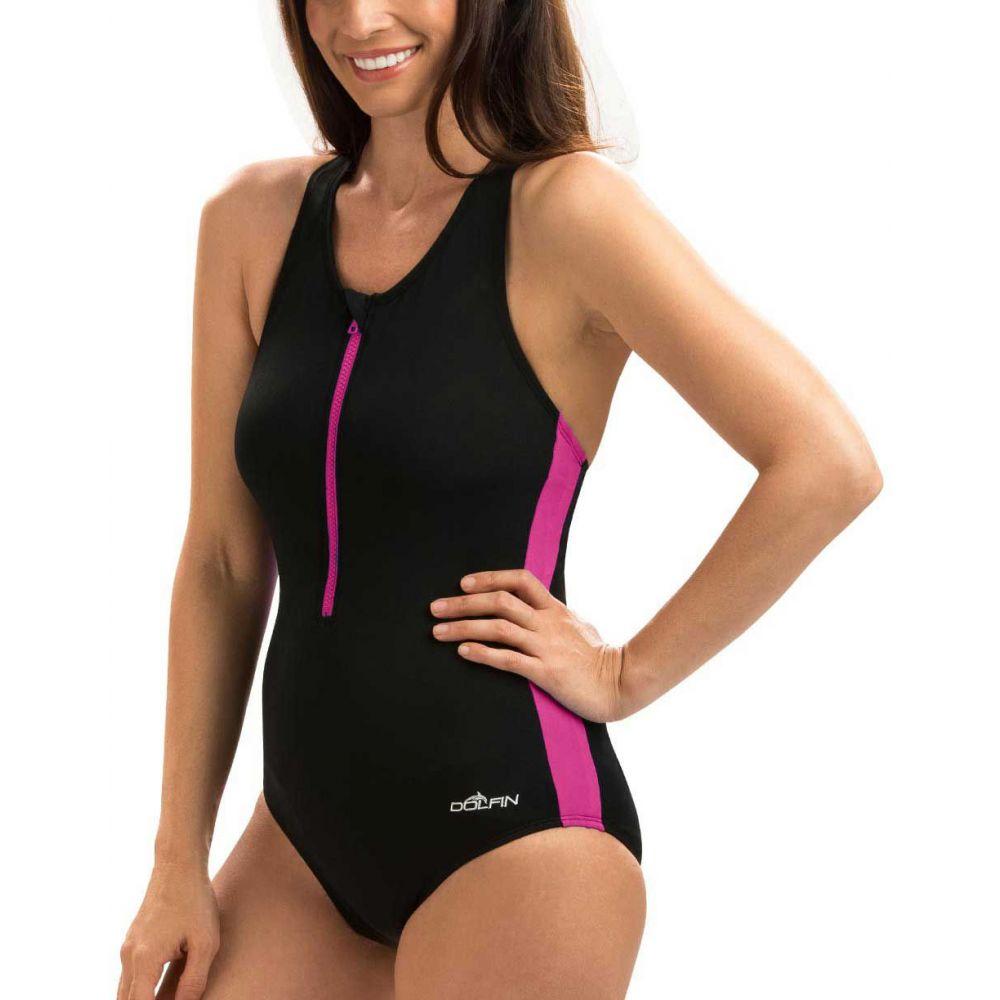 ドルフィン Dolfin レディース ワンピース 水着・ビーチウェア【Zip-Front Racerback Swimsuit】Black/Pink