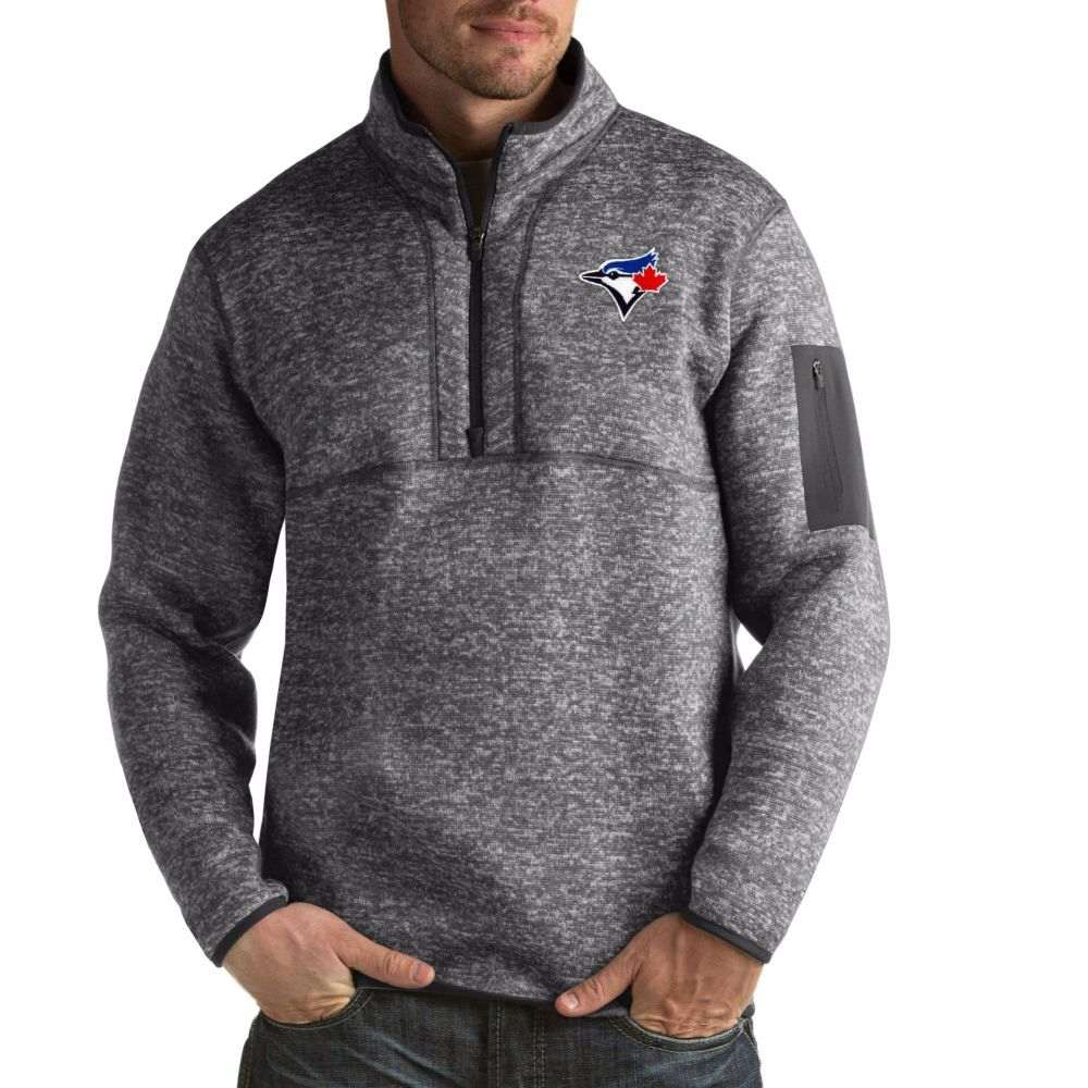 アンティグア Antigua メンズ トップス 【Toronto Blue Jays Fortune Grey Half-Zip Pullover】