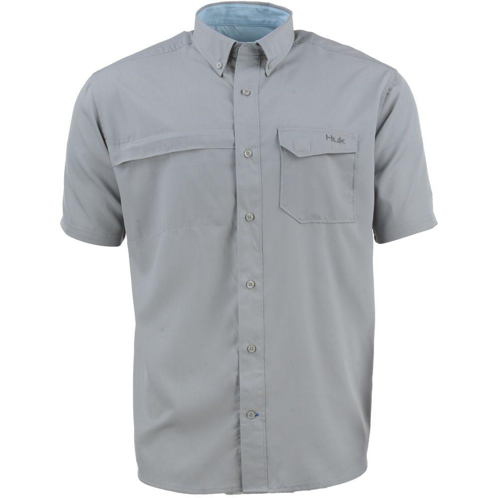 ハック HUK メンズ 半袖シャツ トップス【Tide Point Woven Solid Button Down Short Sleeve Shirt】Grey