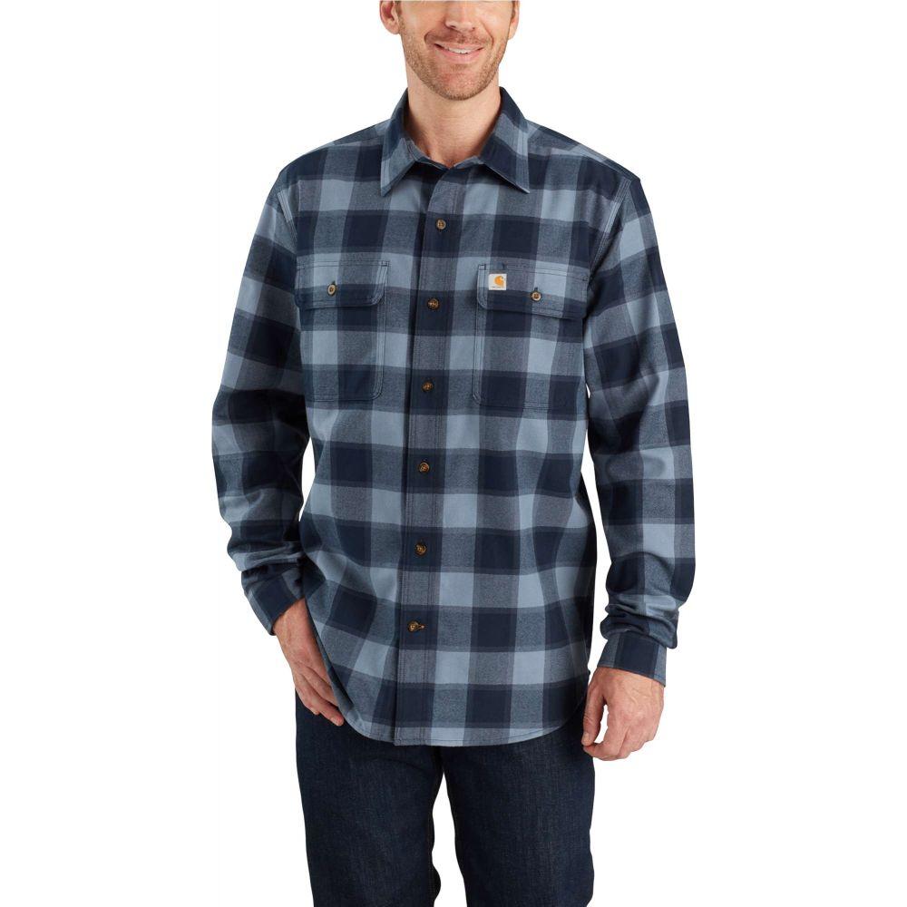 カーハート Carhartt メンズ シャツ フランネルシャツ トップス【Hubbard Plaid Flannel Shirt (Regular and Big & Tall)】Steel Blue