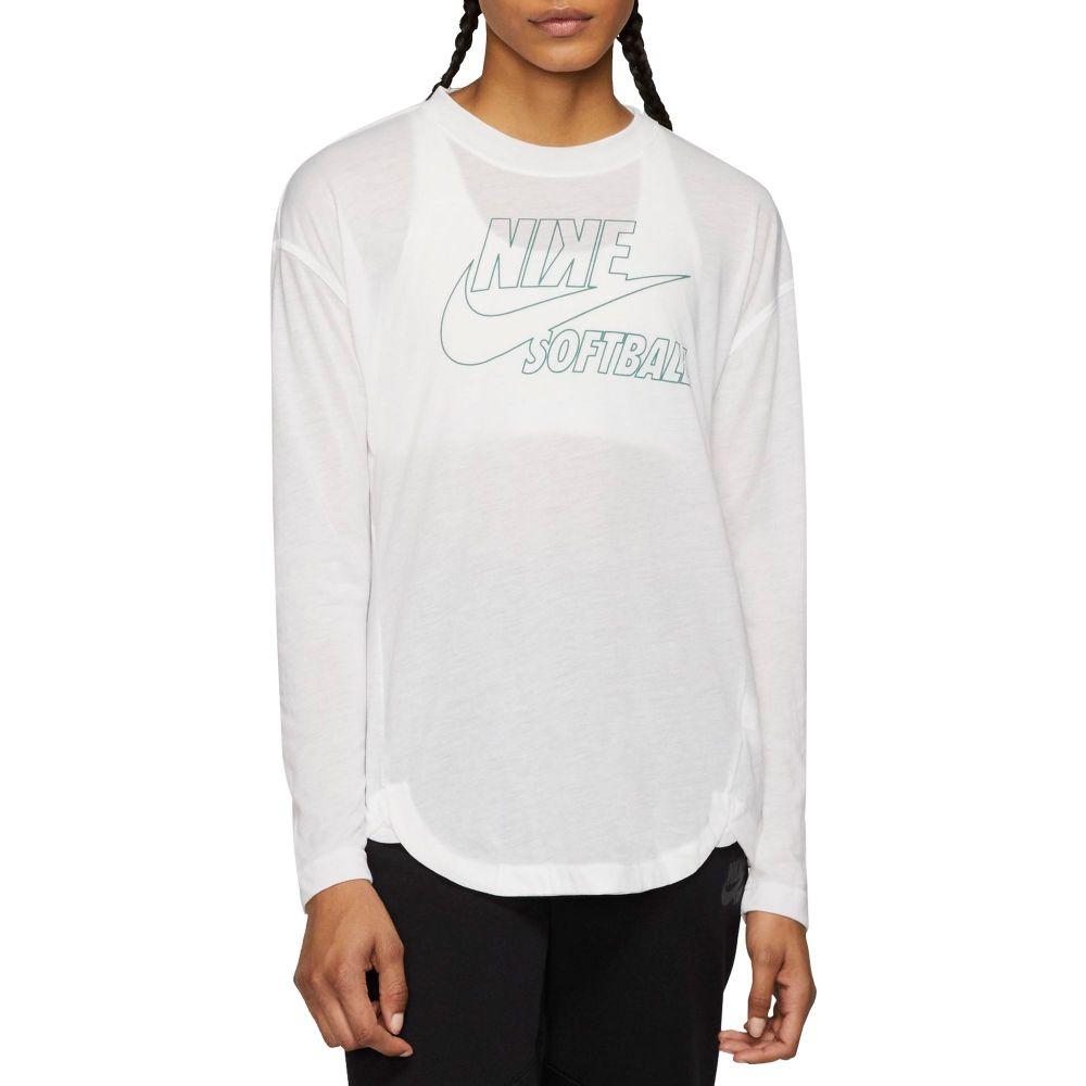 ナイキ Nike レディース 野球 トップス【Breathe Long-Sleeve Softball Top】Tm 白い/Bicoastal