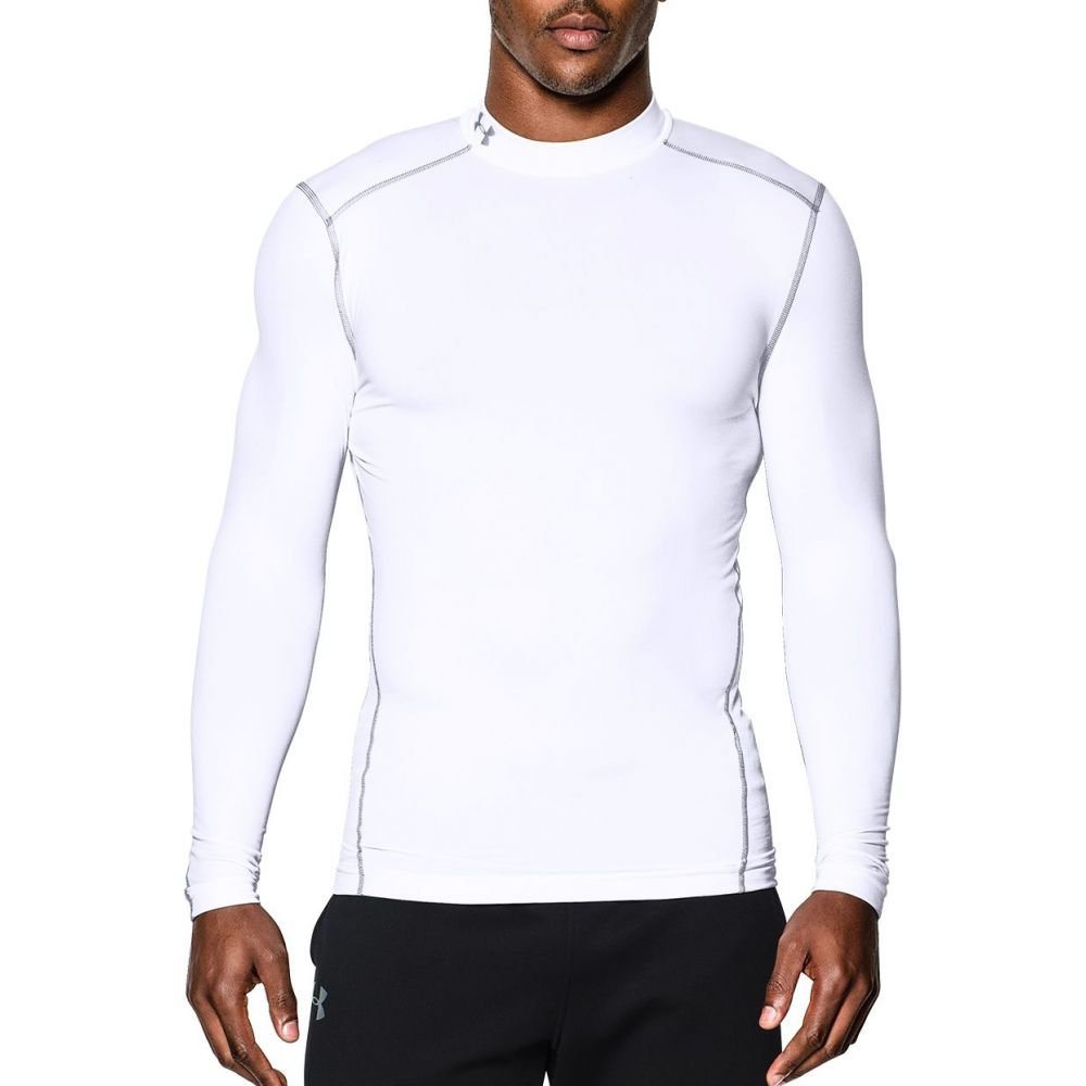 アンダーアーマー Under Armour メンズ 長袖Tシャツ トップス【ColdGear Armour Compression Mock Neck Long Sleeve Shirt (Regular and Big & Tall)】White/Steel