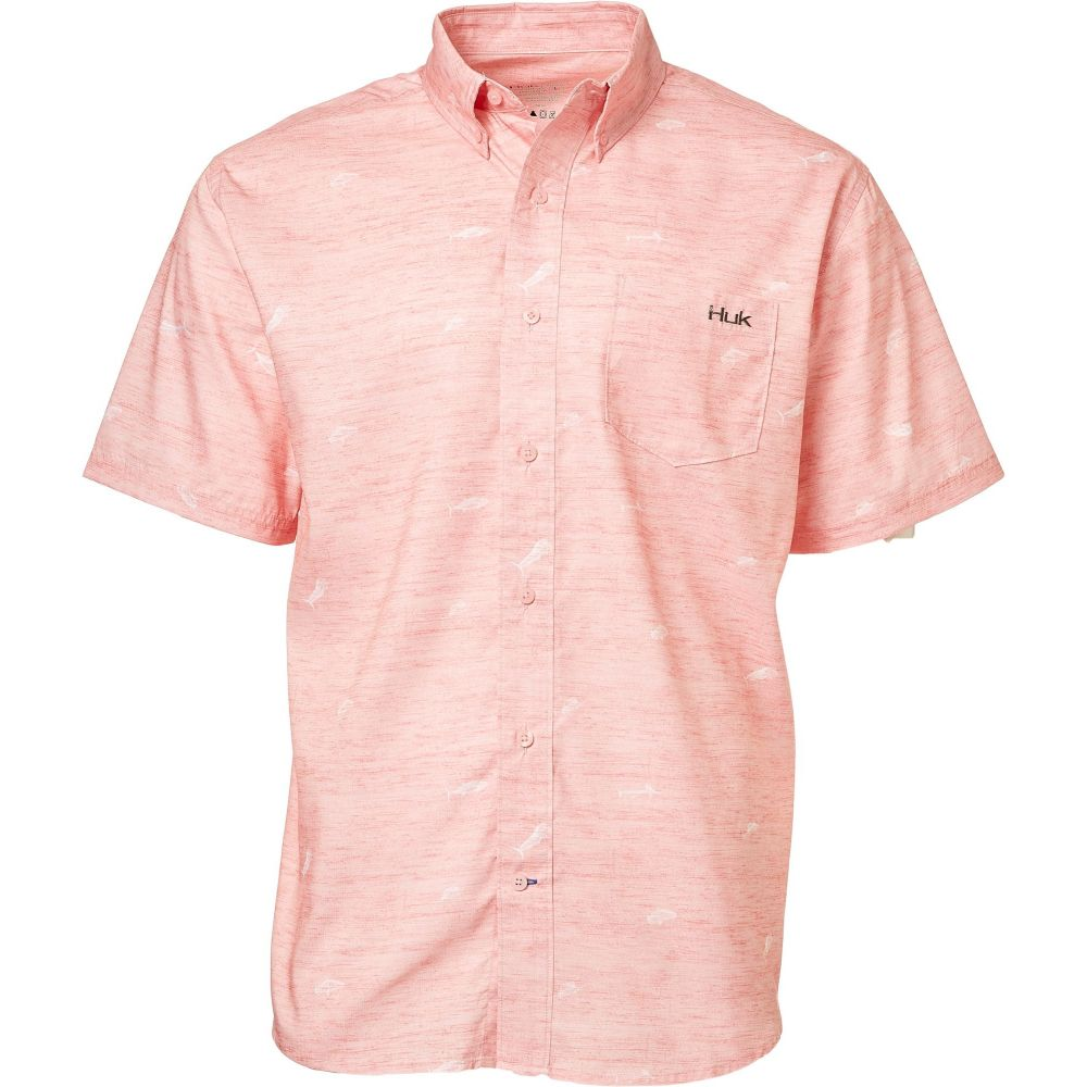 ハック HUK メンズ 半袖シャツ トップス【Short Sleeve Woven Teaser Button Down Short Sleeve Shirt】Pink