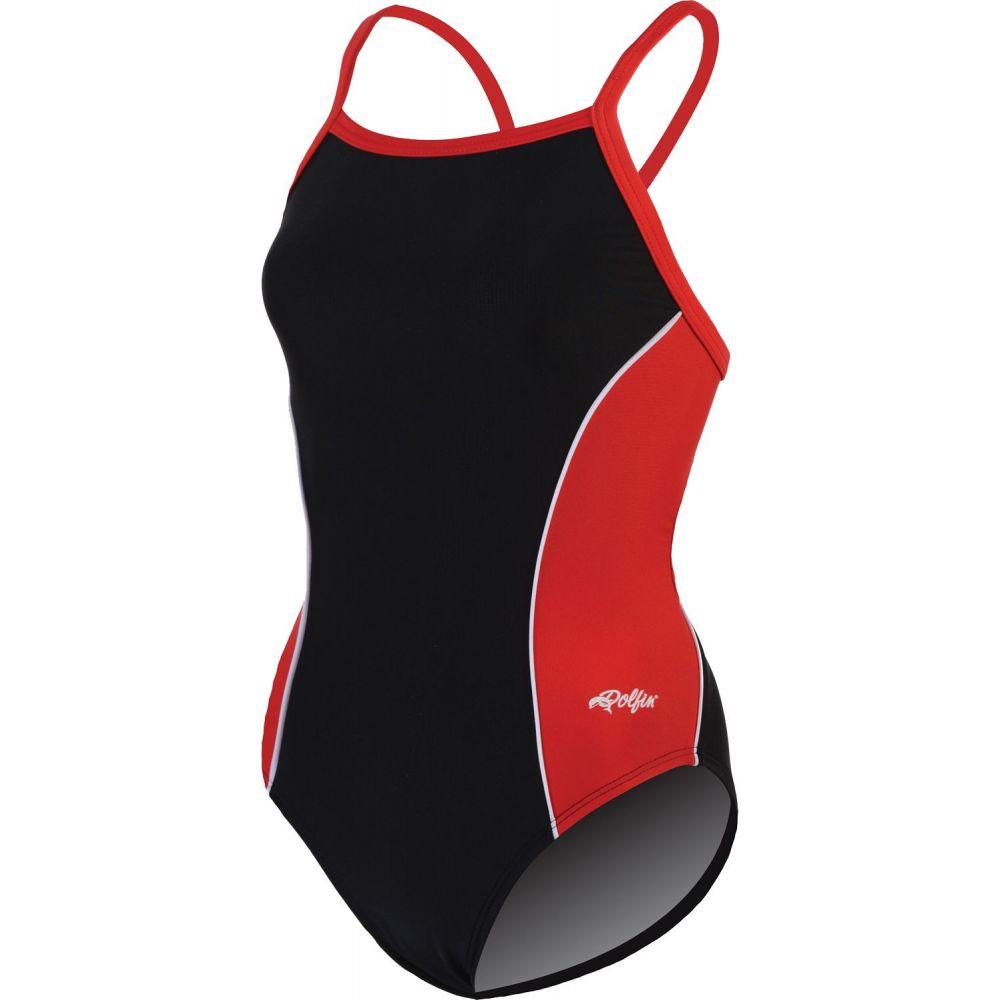 ドルフィン Dolfin レディース ワンピース 水着・ビーチウェア【Team Panel V-2 Back Swimsuit】Black/Red/White