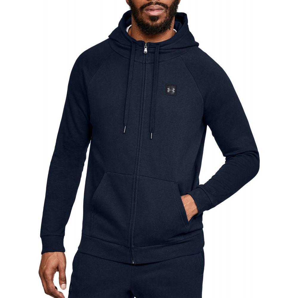 アンダーアーマー Under Armour メンズ フリース トップス【Rival Fleece Full Zip Hoodie (Regular and Big & Tall)】Academy/Black