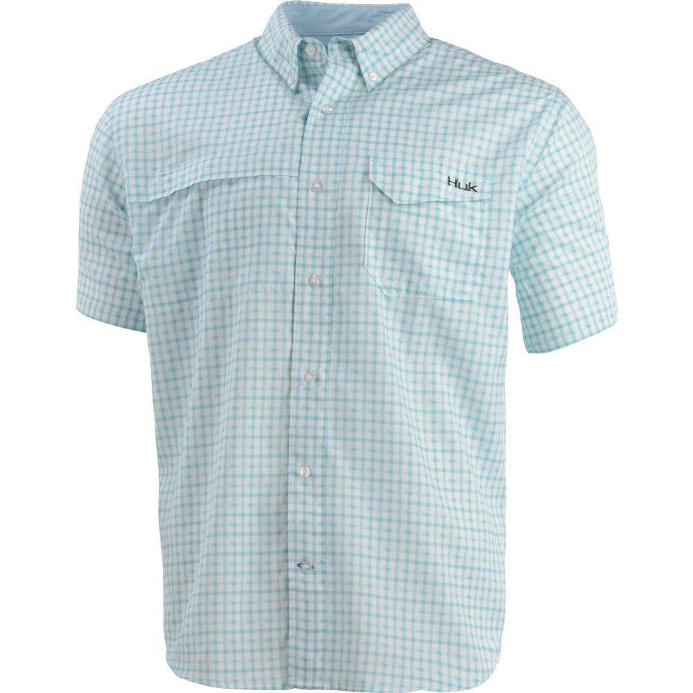 ハック HUK メンズ 半袖シャツ トップス【Huk Tide Point Woven Plaid Short Sleeve Button Down Shirt】Seafoam
