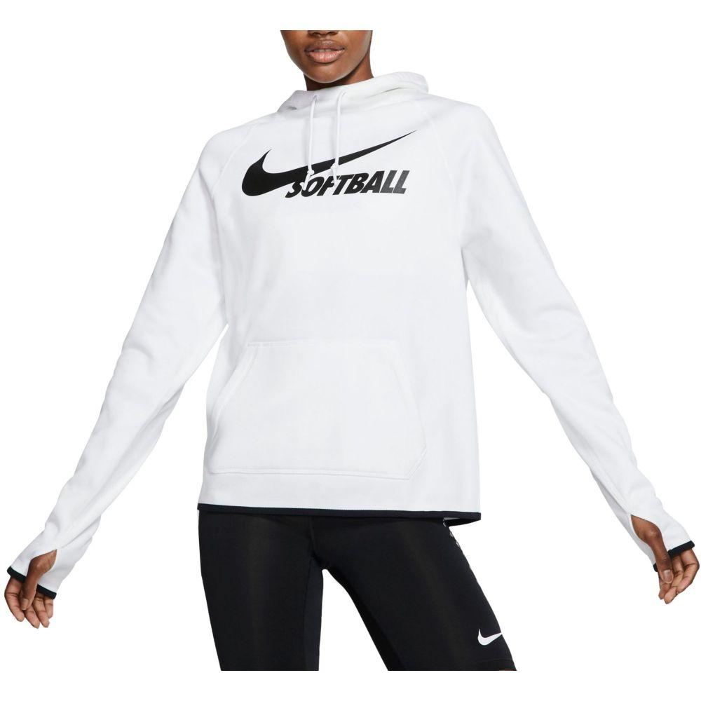 ナイキ Nike レディース 野球 パーカー トップス【Therma Pullover Softball Hoodie】Tm White/Tm Black/Black