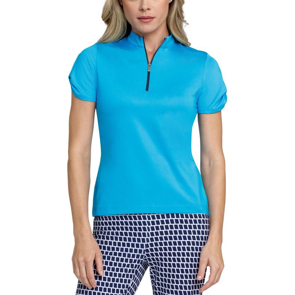 テイル Tail レディース ゴルフ 半袖 トップス【Extended Size Mini Mock Neck Twist Short Sleeve Golf Polo】Atomic Blue