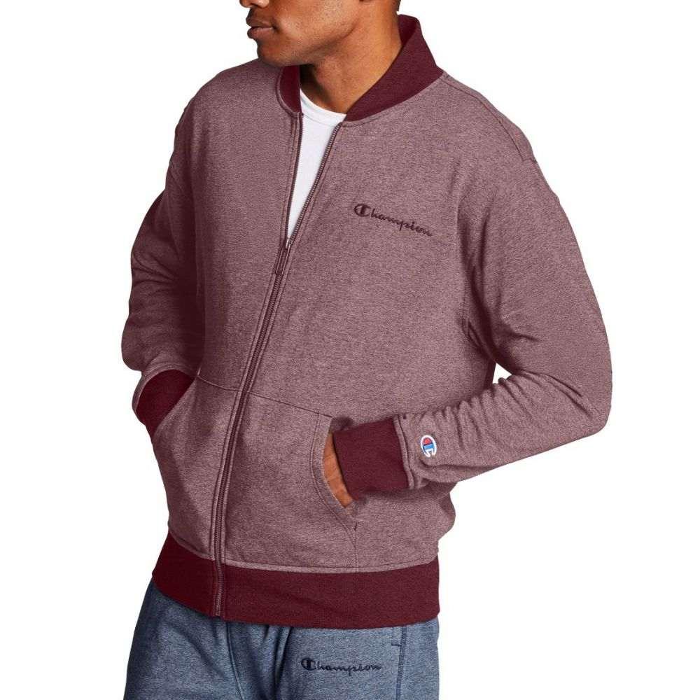 チャンピオン Champion メンズ ジャケット アウター【Heritage Heather YC Embroidered Logo Jacket】Maroon Siro/Maroon