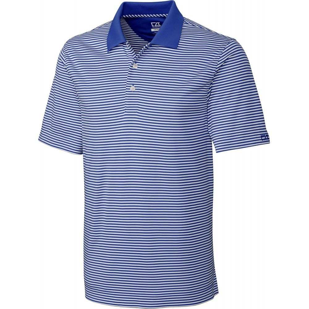 カッター&バック Cutter & Buck メンズ ゴルフ ポロシャツ トップス【CB DryTec Trevor Stripe Golf Polo】Tour Blue/White