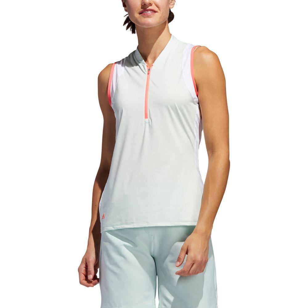 アディダス adidas レディース ゴルフ ノースリーブ ポロシャツ トップス【Colorblock Sleeveless Golf Polo】Dash Green