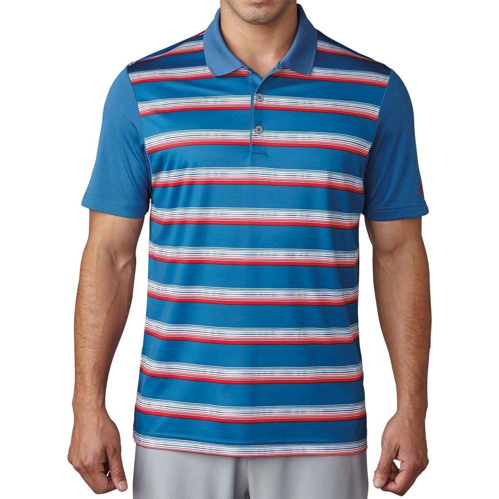 アディダス メンズ ゴルフ トップス 【サイズ交換無料】 アディダス adidas メンズ ゴルフ ポロシャツ トップス【Advantage Stripe Golf Polo】Core Blue