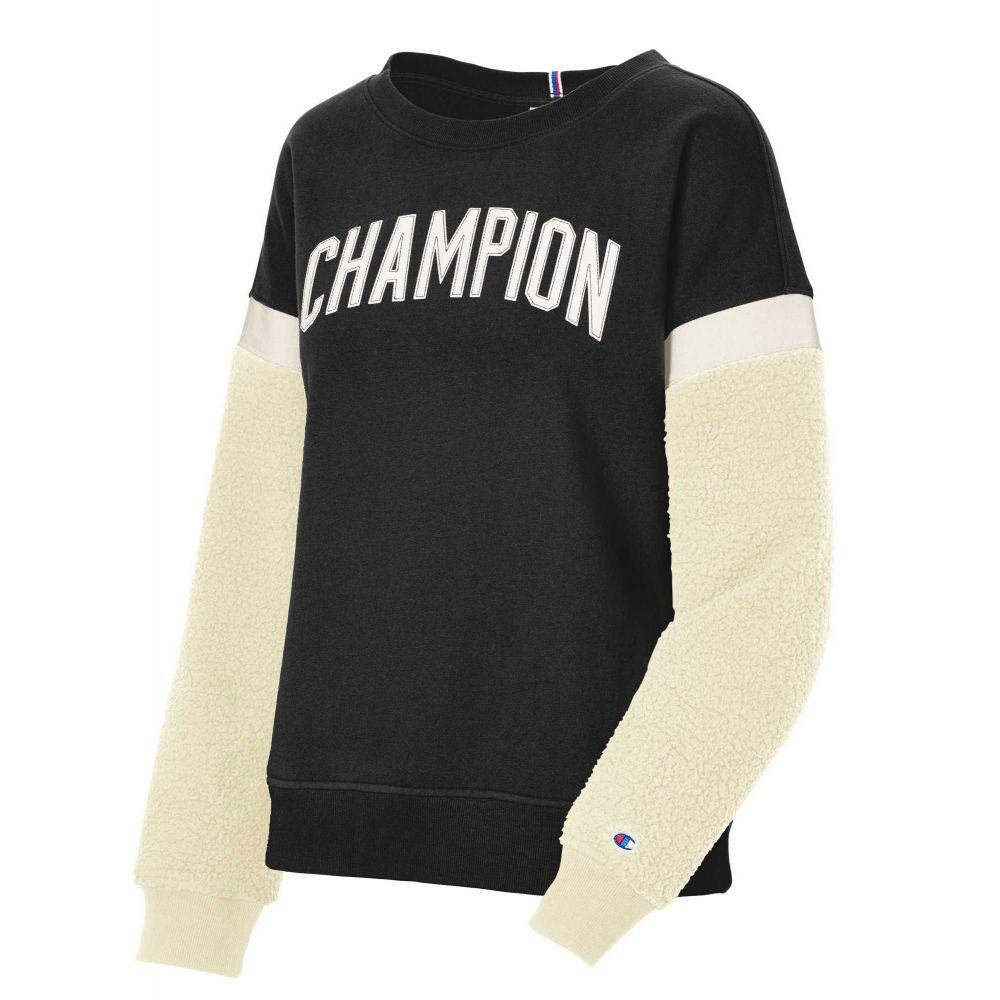 チャンピオン Champion レディース トップス 【Heritage Sherpa Block Crew Pullover】Black/Chalk White
