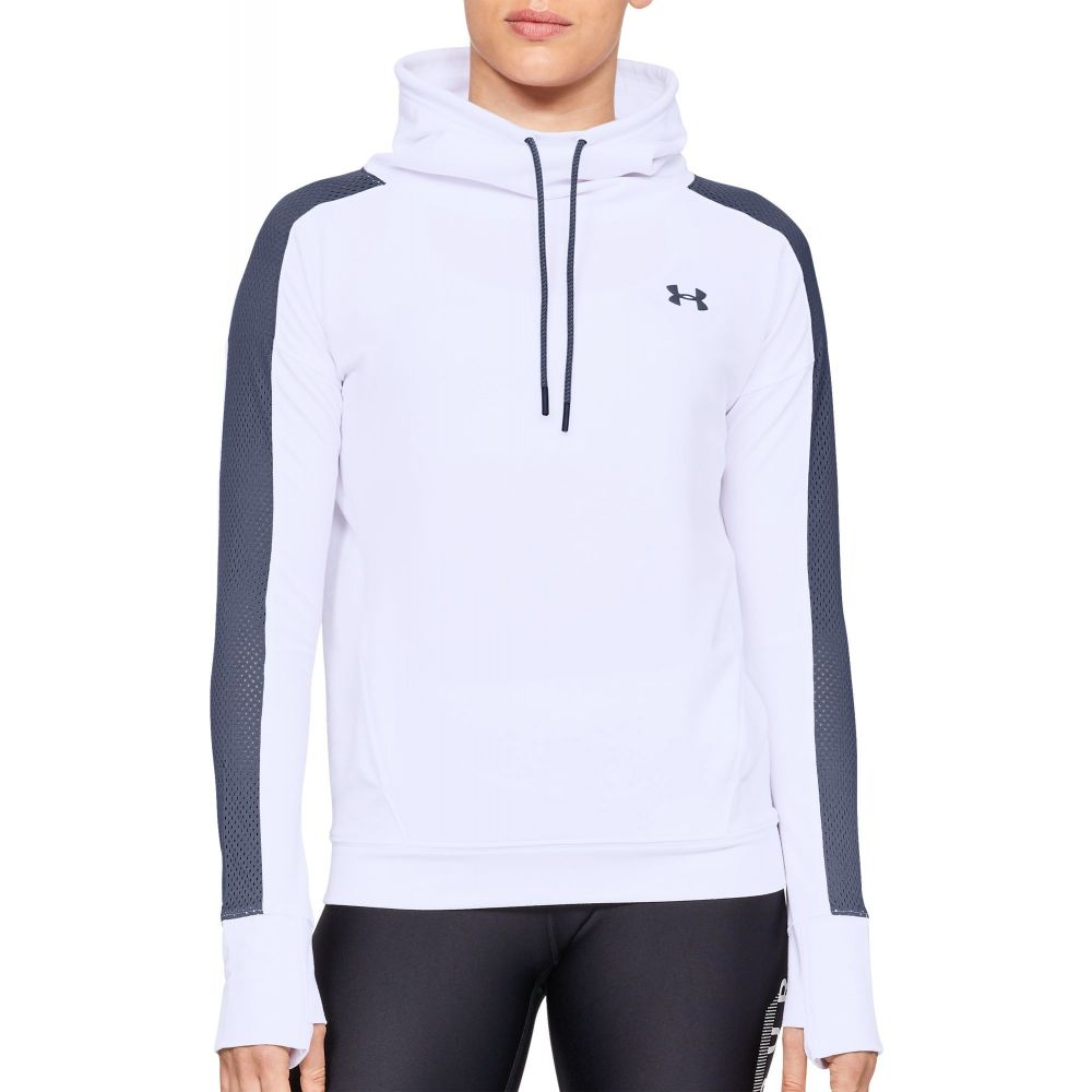 アンダーアーマー Under Armour レディース スウェット・トレーナー トップス【Featherweight Fleece Mesh Funnel Neck Sweatshirt】White/Utility Blue
