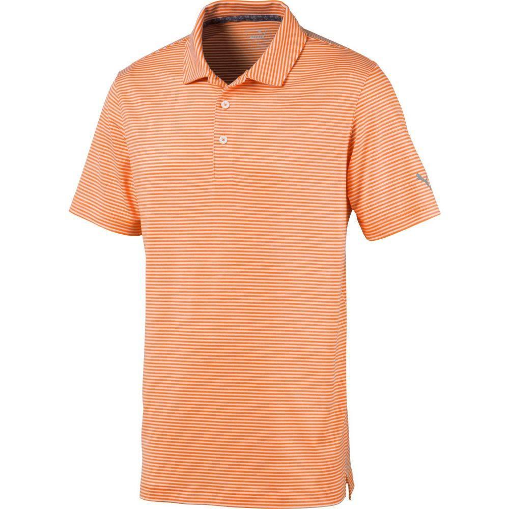 プーマ PUMA メンズ ゴルフ ポロシャツ トップス【Caddie Stripe Golf Polo】Vibrant Orange Heather
