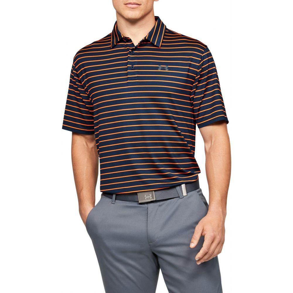 アンダーアーマー Under Armour メンズ ゴルフ ポロシャツ トップス【Playoff 2.0 Tour Stripe Golf Polo】Academy/Orange Spark