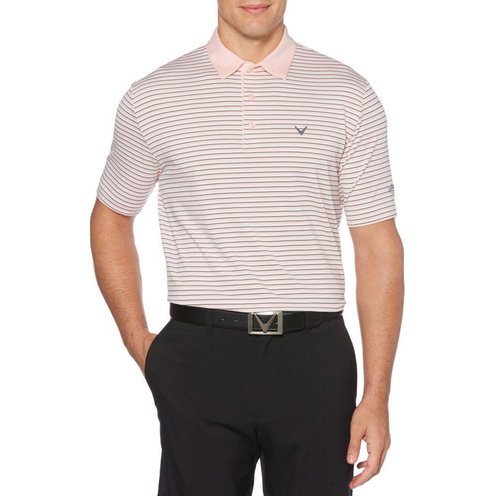 キャロウェイ Callaway メンズ ゴルフ ポロシャツ トップス【Refined 3 Color Stripe Golf Polo】Powder ピンク