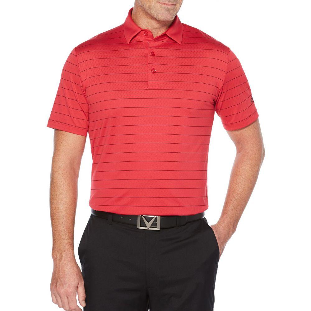 キャロウェイ Callaway メンズ ゴルフ ポロシャツ トップス【Ventilated Stripe Golf Polo】Tango Red