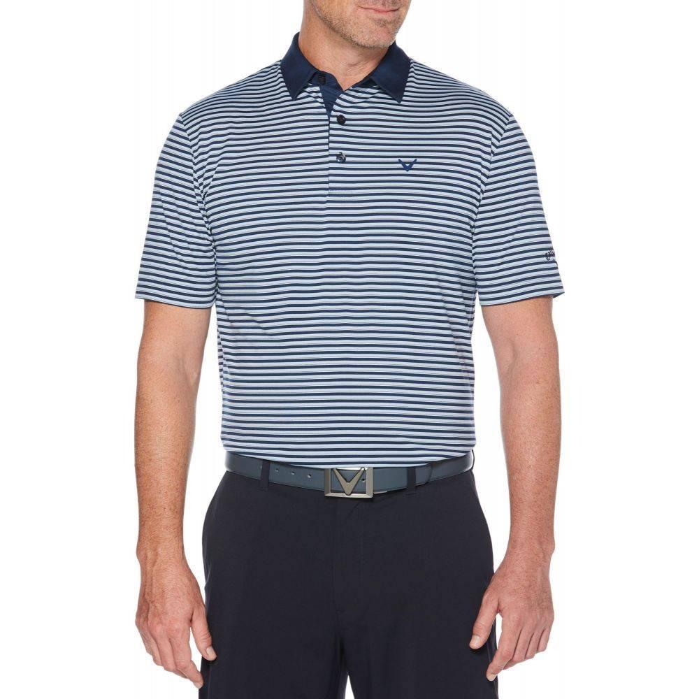 キャロウェイ Callaway メンズ ゴルフ ポロシャツ トップス【Refined 3 Color Stripe Golf Polo】Medieval Blue
